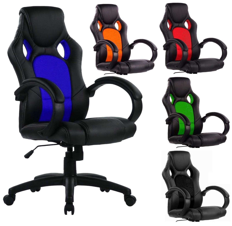 sedia da ufficio dal design esclusivo in stile sportivo Black//Red SPS-Racing Sedia da gioco girevole