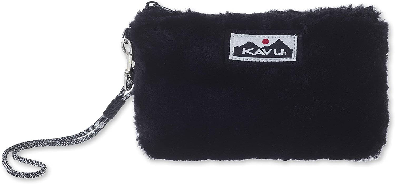 KAVU Tabernash Plaid Accessory Pouch Furry Clutch Purse One Size