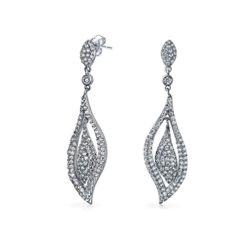8e568a6c4 Amazon.com: Bride Bridal Prom Pageant Large Leaf Pave CZ Cubic Zirconia  Statement Chandelier Earrings For Women Silver Plated Brass: Stud Earrings:  Jewelry