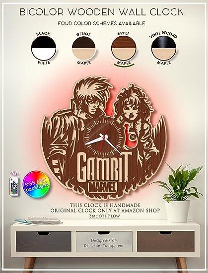 Gambit Wooden Clock Modern Bicolor Clock Marvel Fan Gift Marvel Style Decor