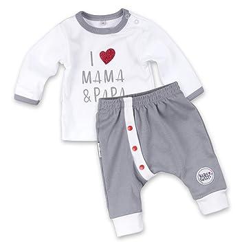 6675dd3b6d Baby Sweets 2er Babyset Erstausstattung Shirt + Hose weiß-grau | Motiv: I  Love