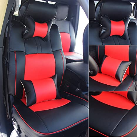 Prime Fly5D Pu Leather Car Seat Covers Front Rear Seat Cushion Cover Full Sets For 2009 2017 Dodge Ram 1500 2500 3500 Blackred Lamtechconsult Wood Chair Design Ideas Lamtechconsultcom