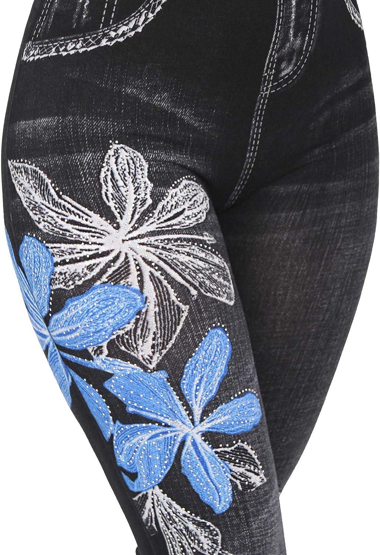 Candygirls dise/ño de flores y mariposas con brillantes Leggings para mujer de cintura alta