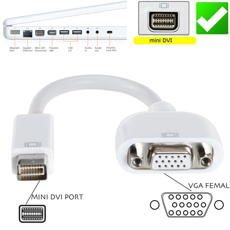 Amazon.com: VIMVIP Mini DVI to VGA Adapter Cable for Macbook White ...