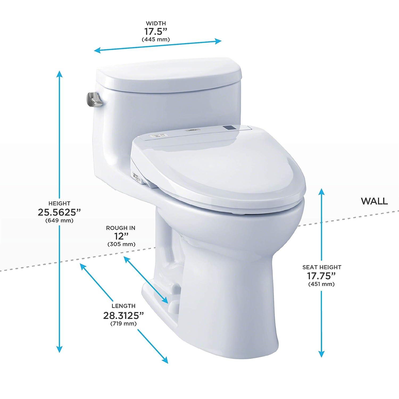 Cotton White TOTO MW634584CEFG#01 WASHLET Supreme II One-Piece Elongated 1.28 GPF Toilet and WASHLET S350e Bidet Seat