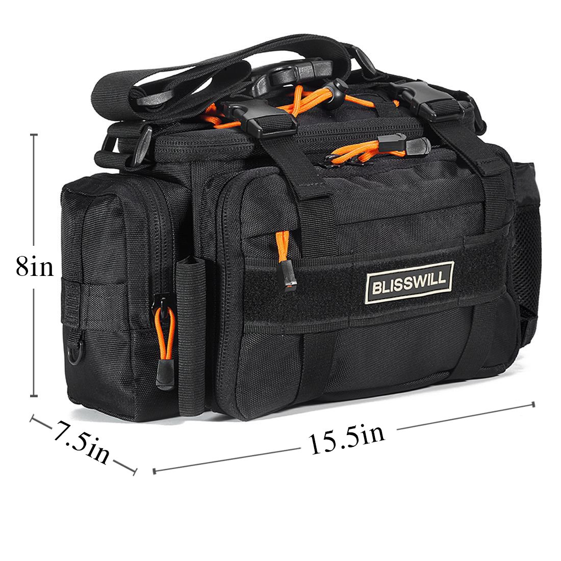 BLISSWILL Outdoor Multifunctional Fishing Tackle Bag Water-Resistant sided Waist Shoulder Carry Strap Storage Waist Pack Sling Bag Fishing Gear Storage for Fishing Hiking Climbing (Black Larger)