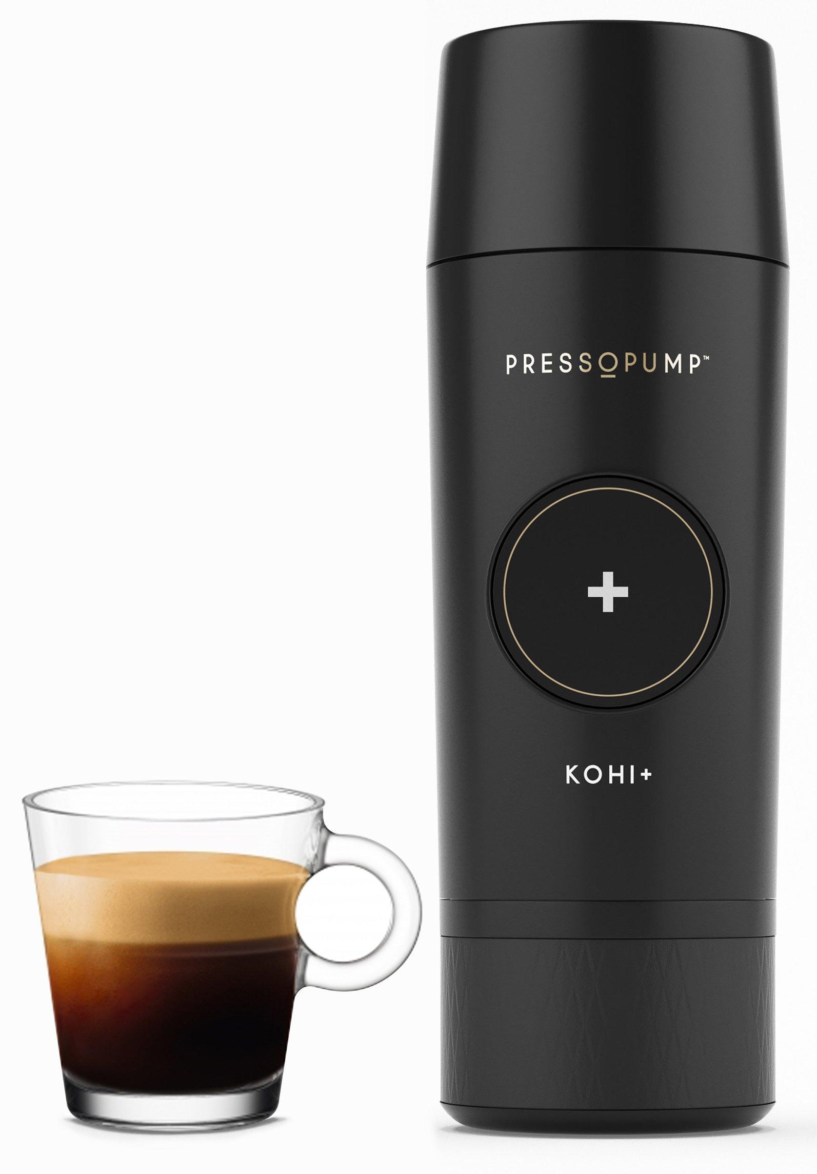 PRESSOPUMP Cordless Espresso Maker (Automatic) | Mini Espresso Coffee Machine | Perfect Gift for Home, Outdoors and Office | Black