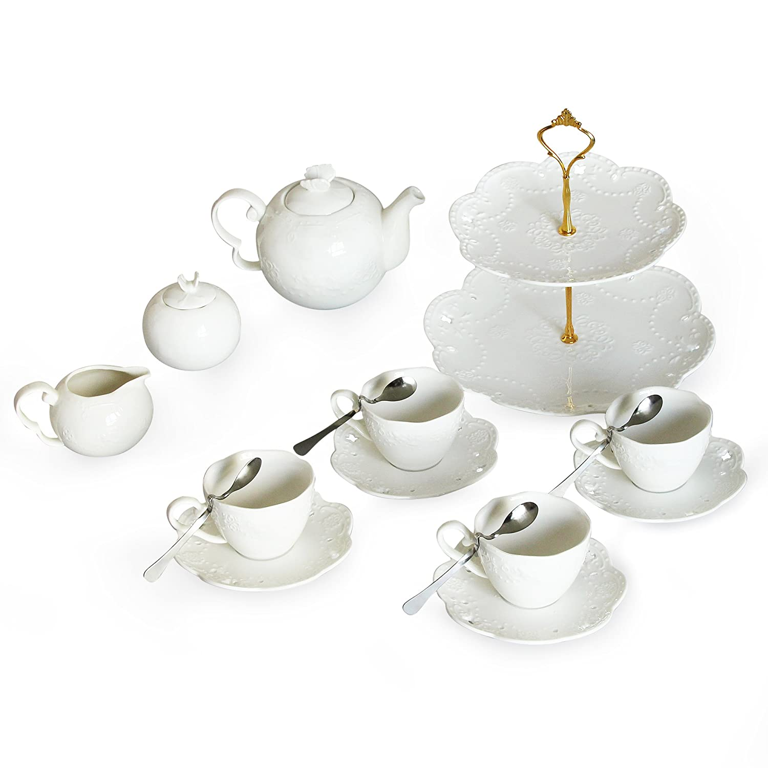 Porcelain Tea Cup and Saucer Coffee Cup Set and Dinnerware (Cup Set with Bracket, Service for 6) Shining Image