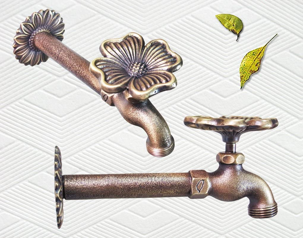 with a Brass Connecter Taiwan Decorative Solid Brass Flower Garden Outdoor Faucet
