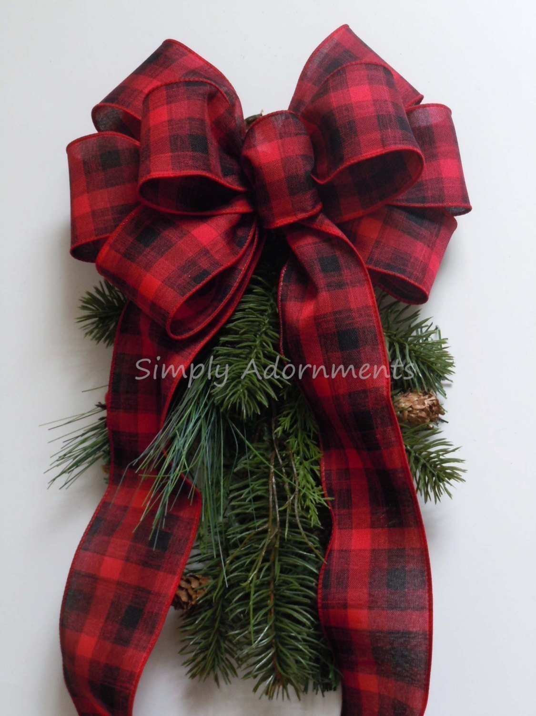 ... Red Black Plaid Bow Lumperjack Plaid Wreath Bow Red Black Tartan Bow  Country Wedding Bow Cabin ... 403bac7075e2