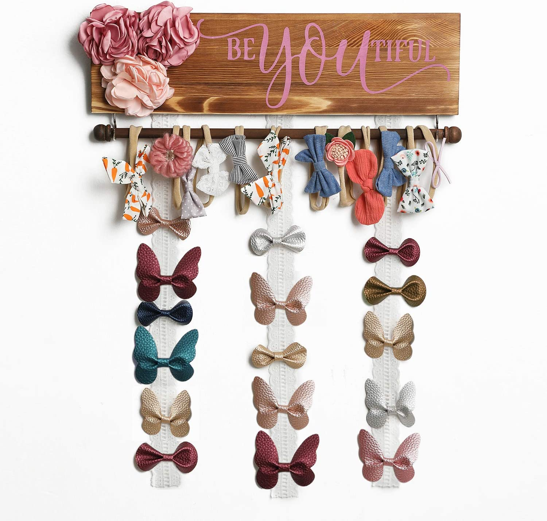 Mokof Bow Holder for Girls Hair Bows, Headbands Storage Organizer for Baby Girl Nursery Wall Hanging Decor