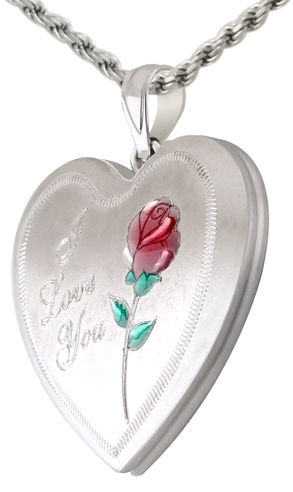0.925 Sterling Silver I Love You & Rose 2 Photo Heart Locket Pendant Necklace