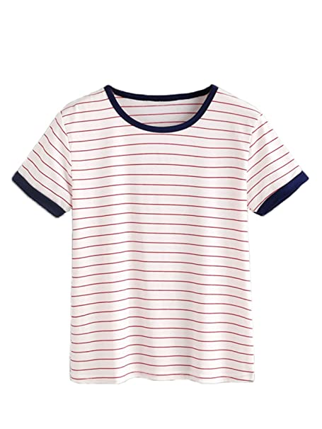 6b0ca72de1e MAKEMECHIC Women s Casual Loose Striped Short Sleeve T-Shirt Tee Top Red S