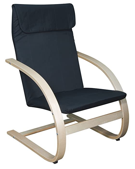 """Niche Mia Bentwood Reclining Lounge Chair, 26.5"""" Wx28 Lx39.5 H, Natural/Black"""