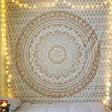 Indian Tapestry Wall Hanging Mandala Tapestries Wall Décor Hippie Beach Throw Table Cover Yoga Mat Gold