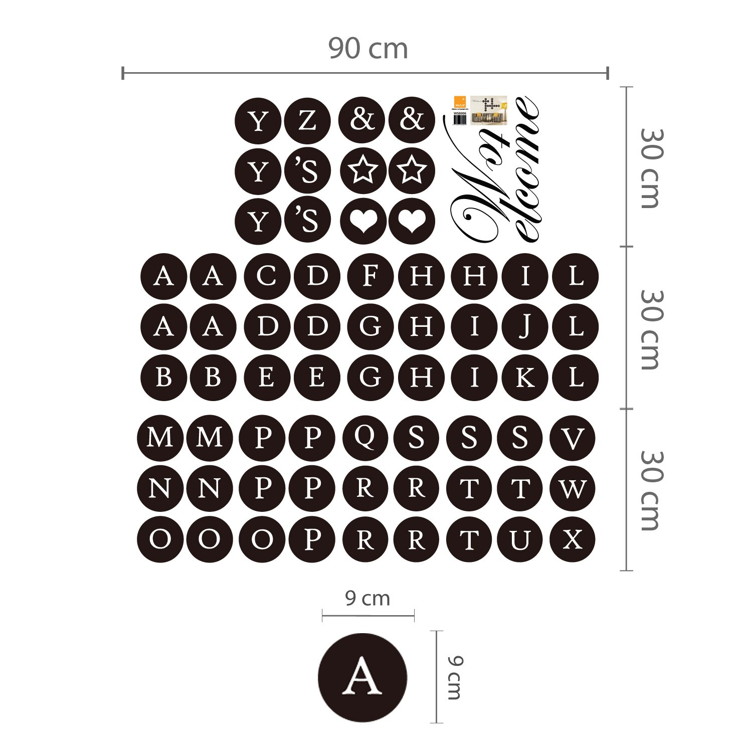 Black Home Decoration WALPLUS Welcome Home Puzzle Lettering Wall Stickers PVC Removable 99Cm X 121Cm Self-Adhesive