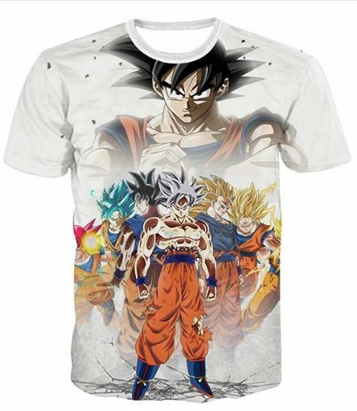 4ad4b421 3D Print T-Shirt Dragon Ball Z Son Goku All Super Saiyan Stages Anime Summer
