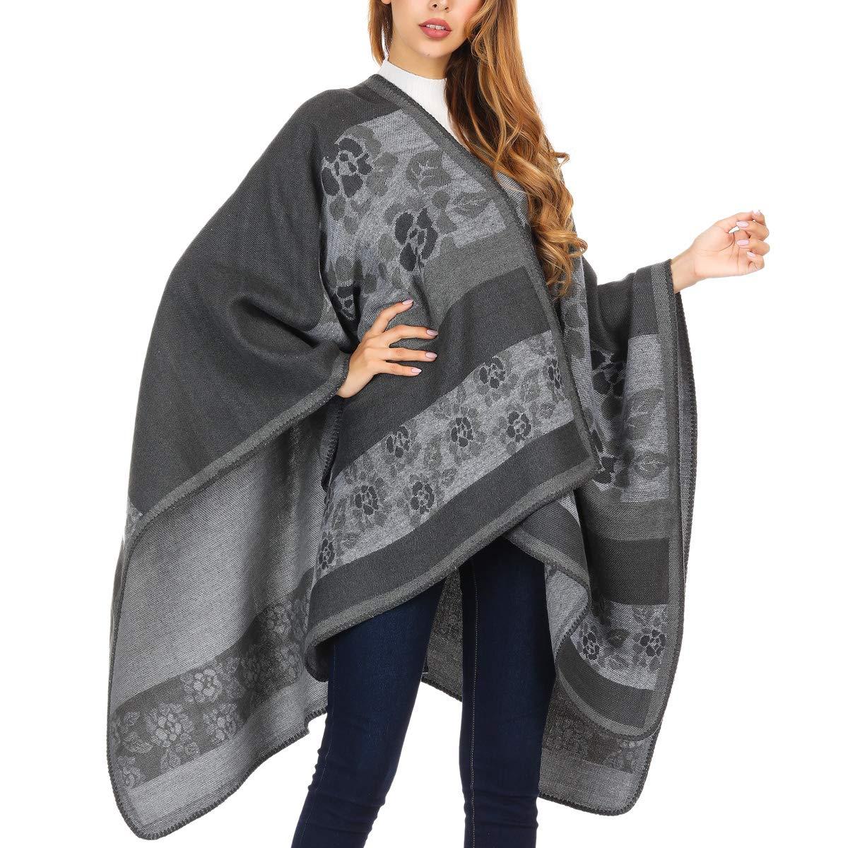 DoFiyeng Women Poncho Shawl Poncho Cape Cardigan Open Front Elegant Cape Wrap Shawl Wrap(White gray pattern) by DoFiyeng