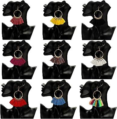 9 Pairs Tassel Hoop Earrings Bohemia Fan Colorful Drop Earrings Dangle Hook Eardrop for Women Girls Daily Party Bohemia Dress Accessory