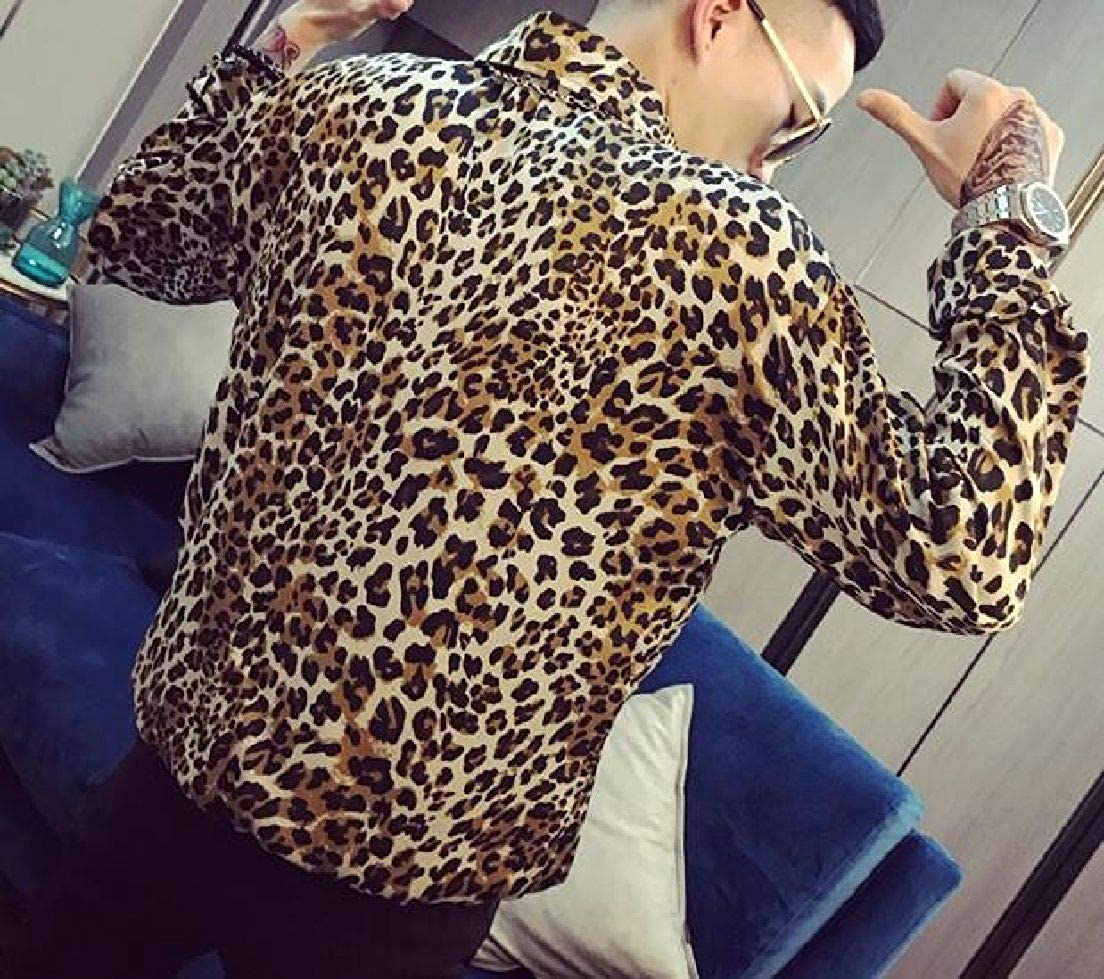 Fubotevic Mens Long Sleeve with Pockets Button Front Leopard Plus Size Shirts