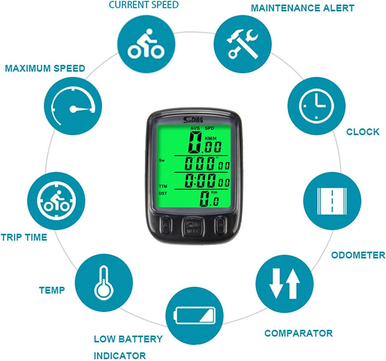 negro Bicicleta computadora LCD goliton od/ómetro veloc/ímetro vel/ómetro Backlight con funci/ón 28