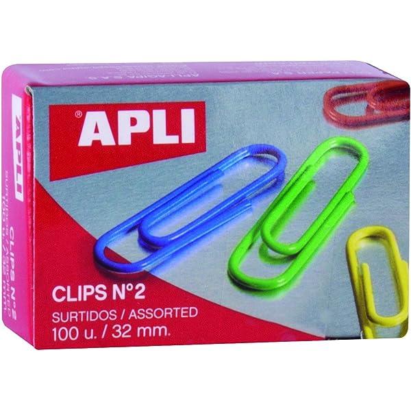 Apli 11723 Caja Clips, Multicolor, 32 Mm: Amazon.es: Oficina y papelería