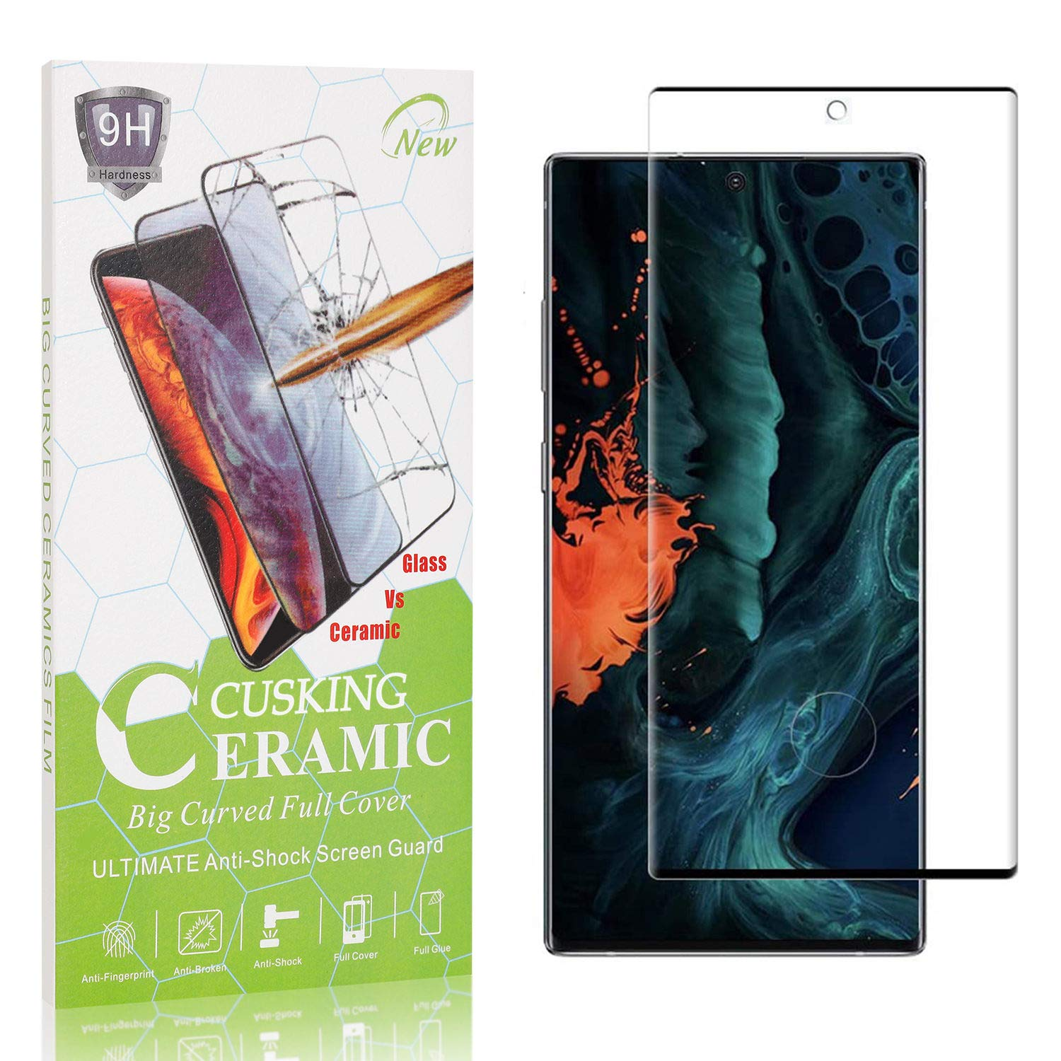4 Pack Ultra Thin Tempered Glass 99.99/% Clarity 9H Screen Protector for Samsung Galaxy Note 10 Bubble Free CUSKING Screen Protector for Galaxy Note 10