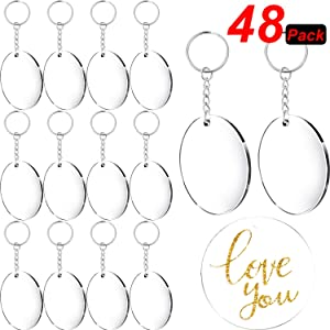 Acrylic Transparent Discs and Key Chains Clear Acrylic Keychain Blanks for DIY Projects and Crafts, 2 Inch (Round, 48 Pieces)