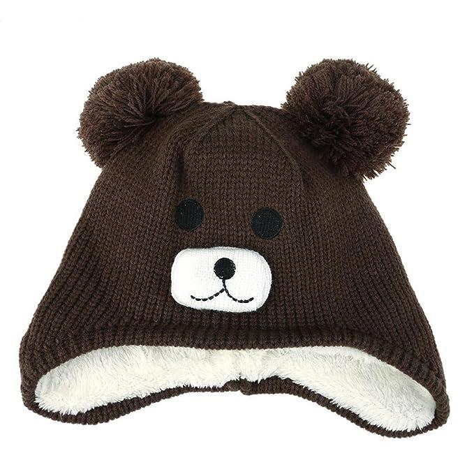 Domybest Cappello Infantile Invernale di Peluche Cappello Carino Comodo a Forma  di Orso per Bambini f04a97ac6dd0