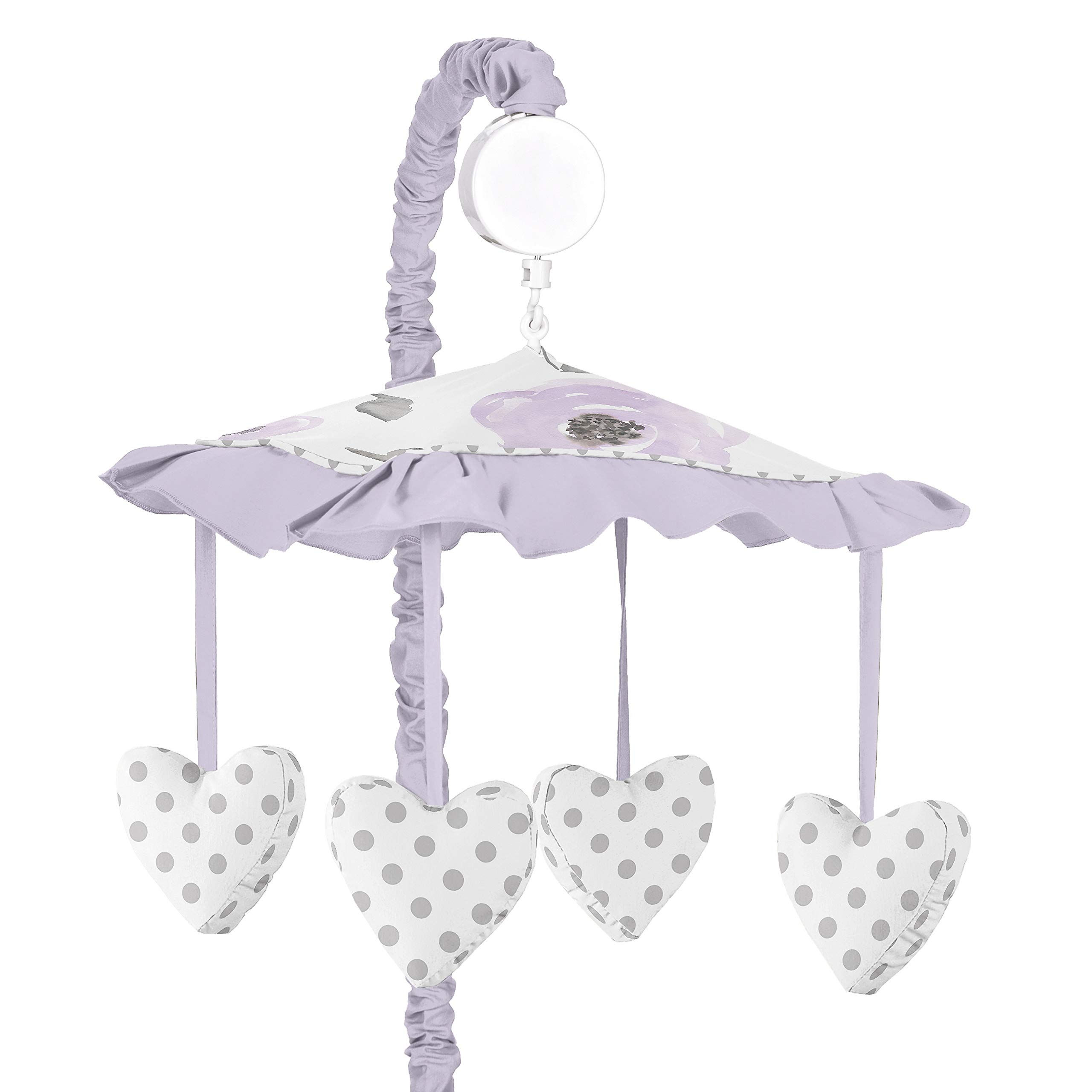 Sweet Jojo Designs Lavender Purple, Pink, Grey and White Musical Baby Crib Mobile for Watercolor Floral Collection - Rose Flower