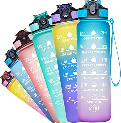 Venture Pal 32Oz Motivational Fitness Sports Water Bottle With Time Marker  Str