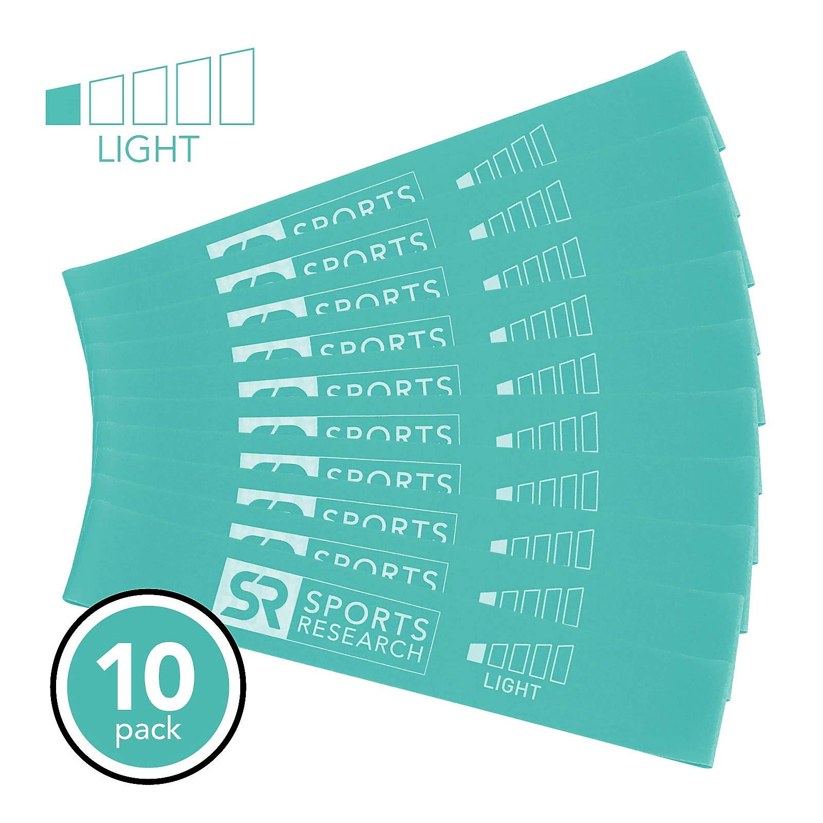 Sports Research Resistance Bands - 10 Pack (Teal) Light Resistance | Training, Yoga and Physical Therapy Mini Loop Bands | Includes Free Mesh Carrying Bag (10 Pack (Light))