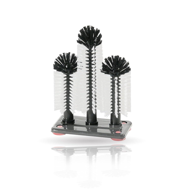 Kerafactum®  –  Set di spazzola spazzola per occhiali glaeserspuelbuerste Spazzola con 3 Pilastri Glasses Brush (18/24/18 cm) –  con grande aspirazione Piastra