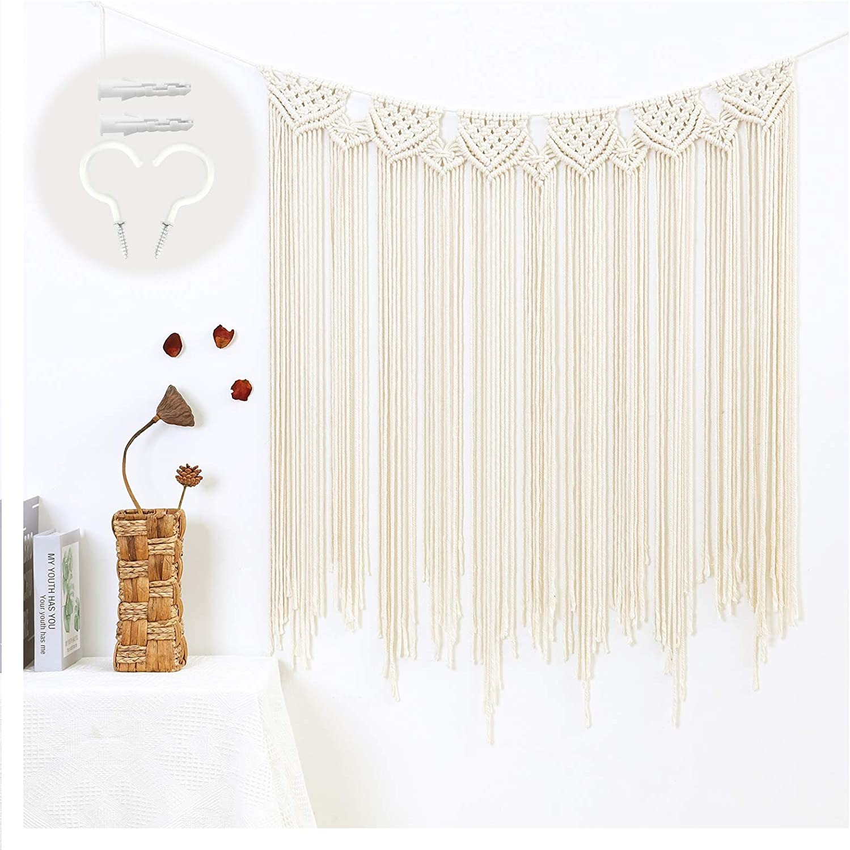 "MREYYOO Large Macrame Wall Hanging 35.8""x50"" Boho Cotton Tassels Woven Tapestry Macrame Wall Decor for Bohemian Wedding, Home, Bedroom, Fringe Curtain Garland Banner, Beige"