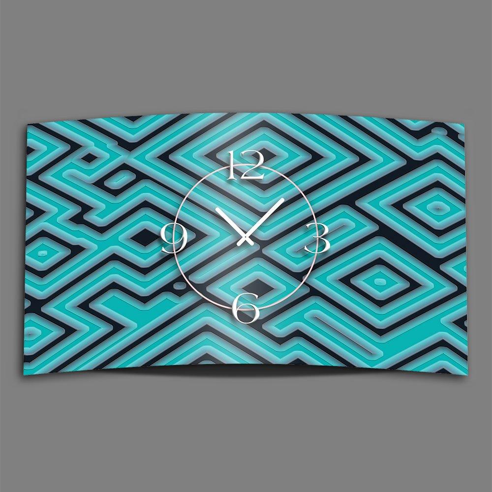 Abstrakt Labyrinth türkis Designer Wanduhr modernes Wanduhren Design leise kein ticken dixtime 3D-0206