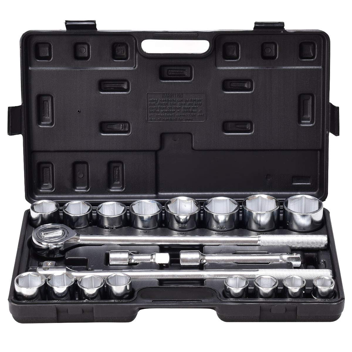 Goplus 21pcs SAE 3/4'' Drive Socket Set w/Case Jumbo Ratchet Wrench Extension (21pcs)