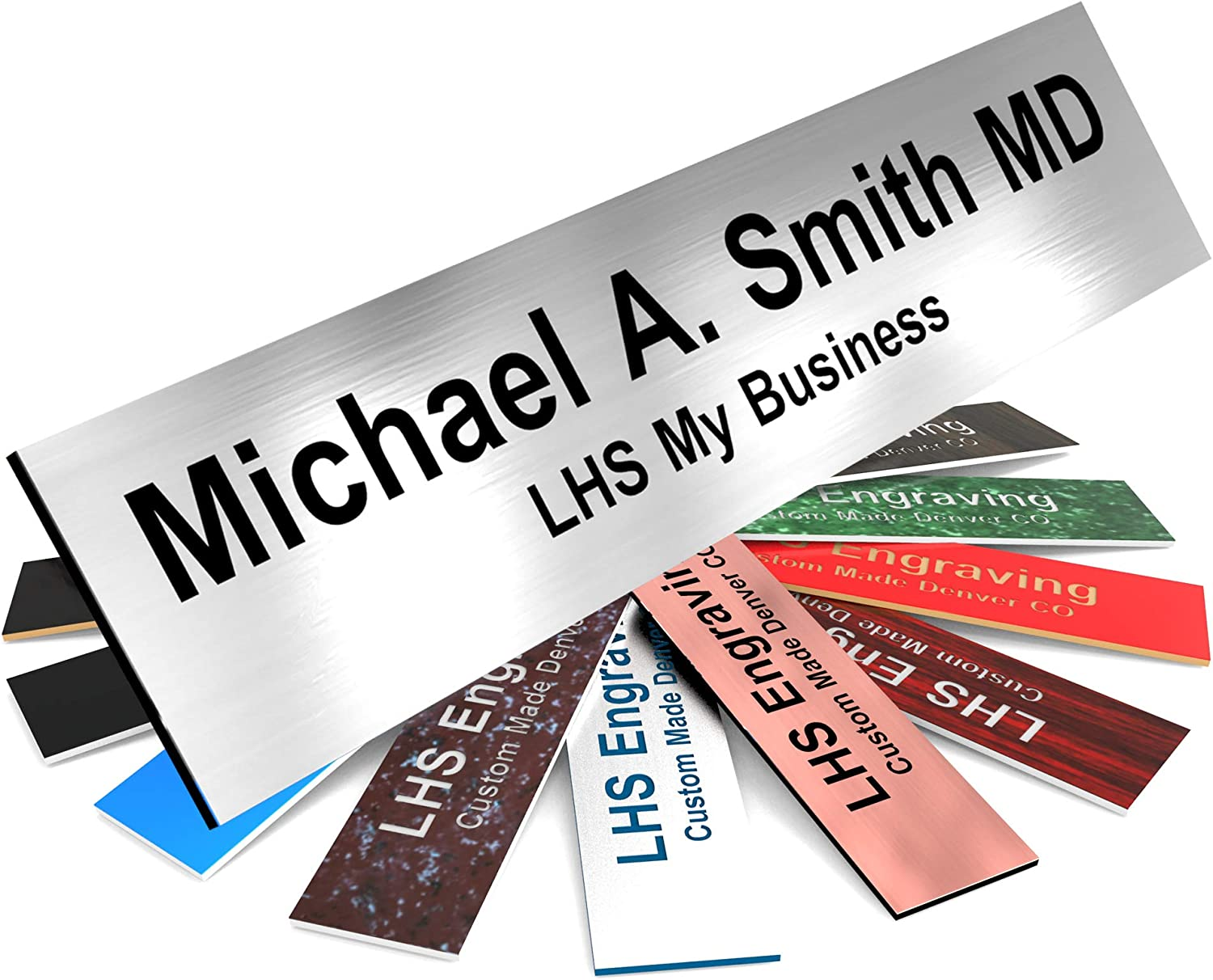 LHS My Business | Door Name Plate Personalized for Office Brushed Steel Plastic Name Plate Black Letters | 2x8 - M1