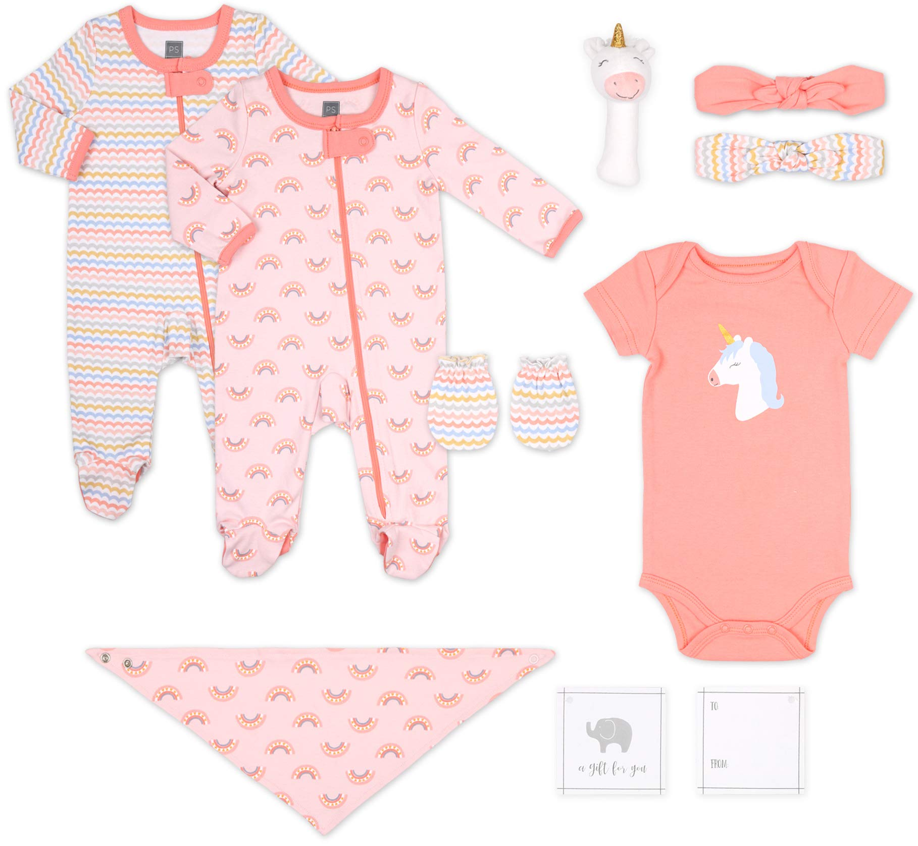 The Peanutshell Newborn Gift Set, 10 Piece Layette Set with Rattle and Bib in Boy, Girl, and Unisex Prints (Unicorn) by The Peanutshell