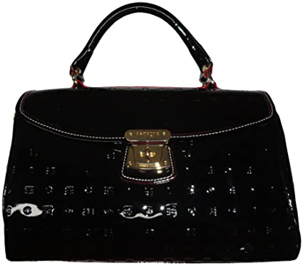 1405f9144e5 Image Unavailable. Image not available for. Color: Arcadia Women's Purse  Handbag Patent Leather Satchel Black