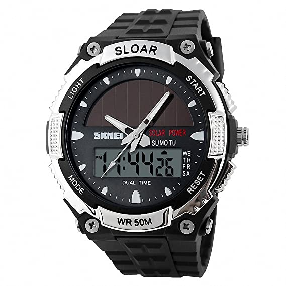 SKEMEI Unisex Hombres Deporte Digital-Quartz Reloj Solar energía Alarma Dual Time Display Auto Fecha Resistente al Agua + Caja: SKMEI: Amazon.es: Relojes