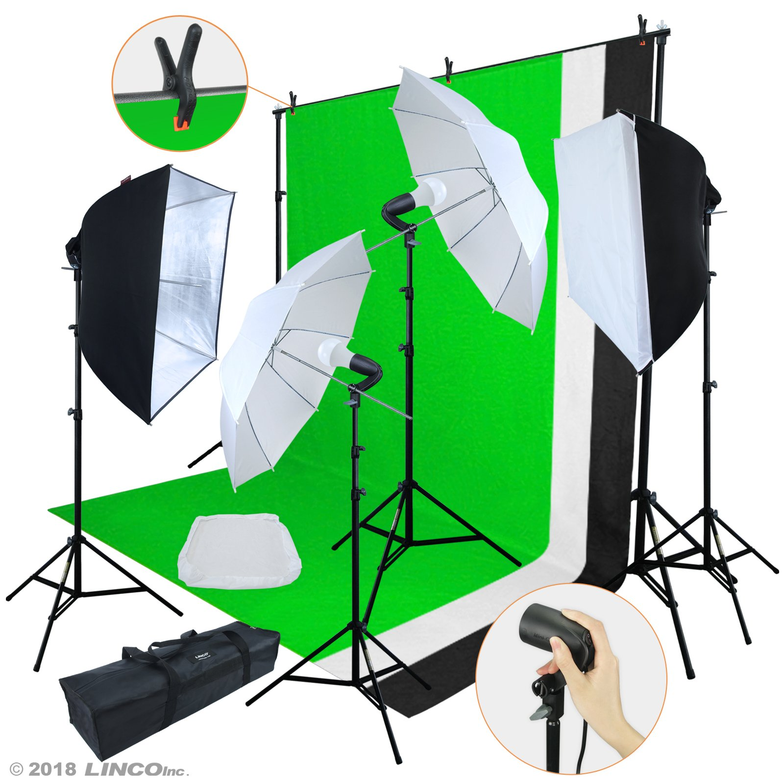 Linco Lincostore LED 3200 Lumens Photo Video Studio Light Kit AM243 - Including 3 Color Backdrops (Black/White/Green) Background Screen by Linco
