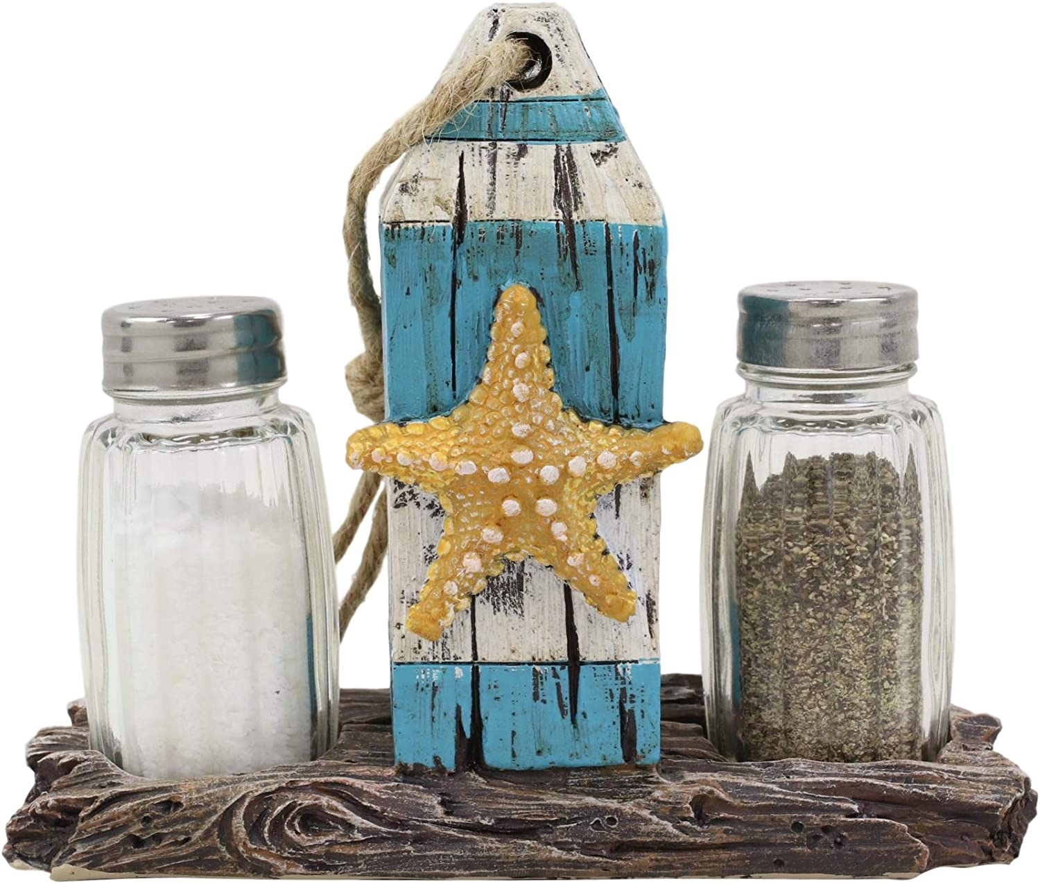 Ebros Gift Sea Star Shell Starfish On Blue Distressed Wood Getty Post Salt And Pepper Shakers Set Holder Statue 6.25