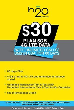 Amazon.com: Tarjeta SIM prepagada de EE. UU. H2O 4G LTE ...