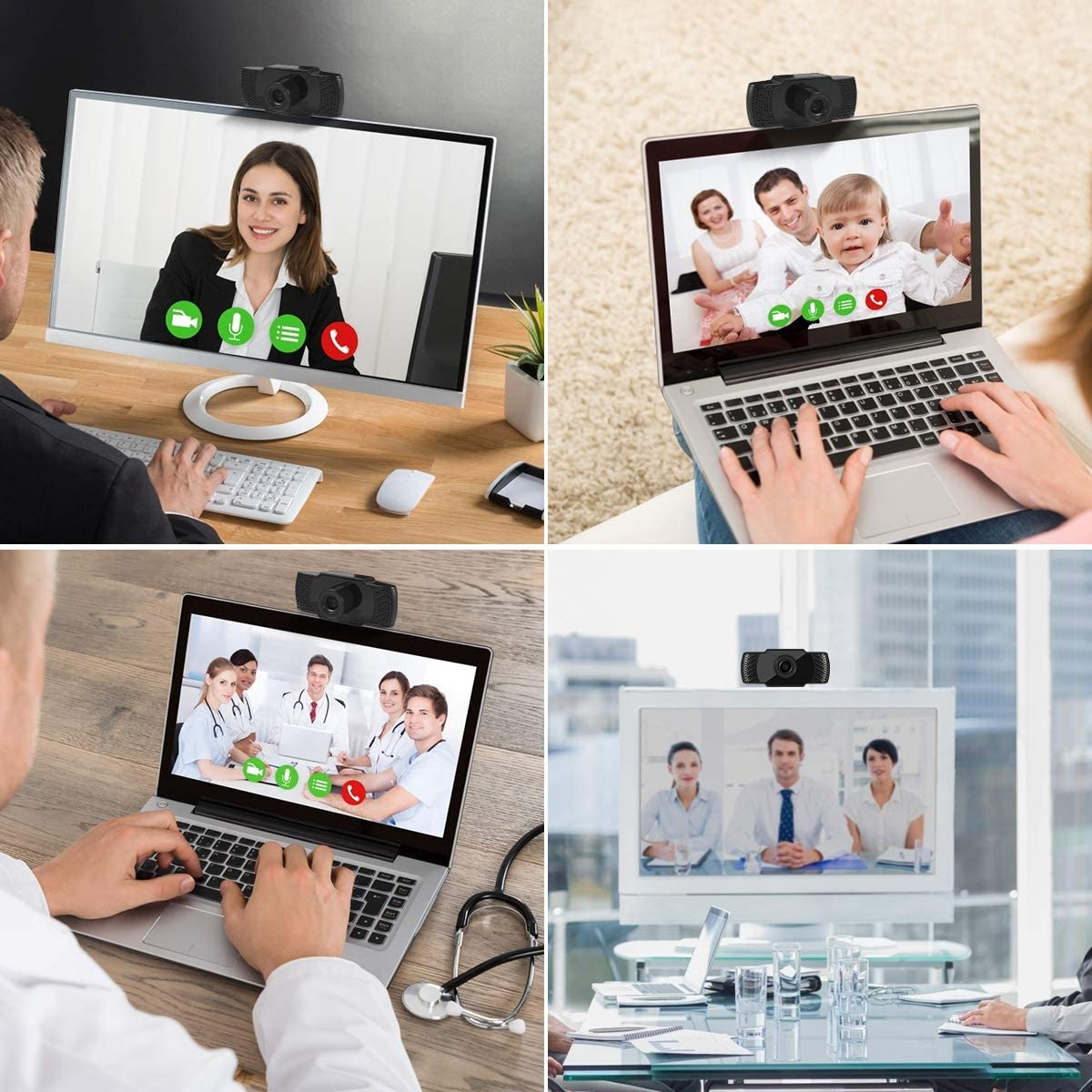 Black USB Desktop /& Laptop Live Streaming Widescreen Built-in Mic Mini HD Video Webcam for Skype Video Calling,Online Work,Conferencing,Recording and Game Live CharmUO 1080P Webcam with Microphone