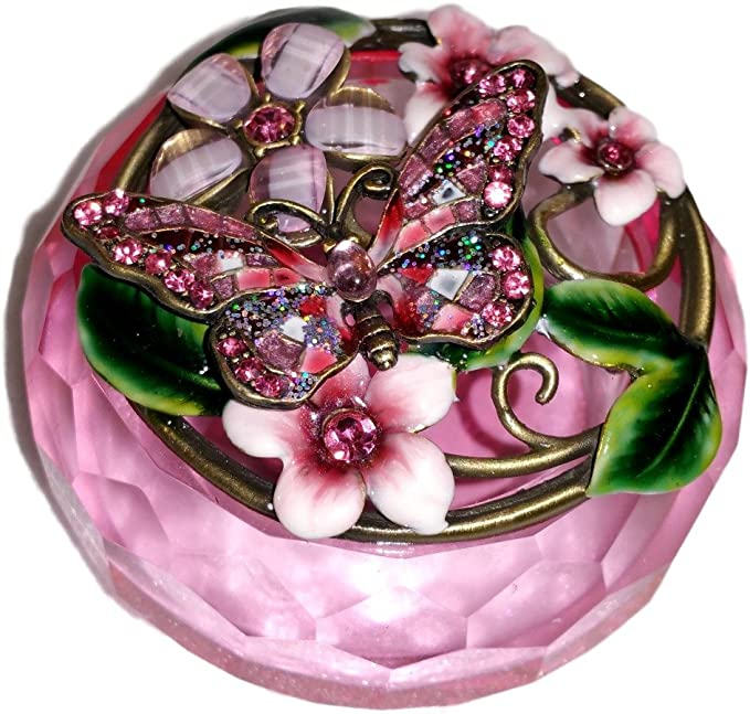 Welforth Jeweled Pink Butterfly Flower Enamel Pink Crystal Round Jewelry Trinket Box Home Kitchen Amazon Com