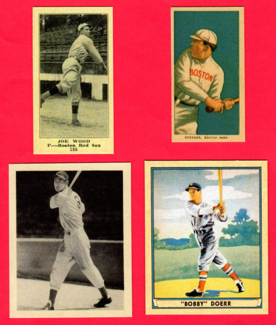 Boston Red Sox 4 Card Reprint Lot With Ted Williams Rookie