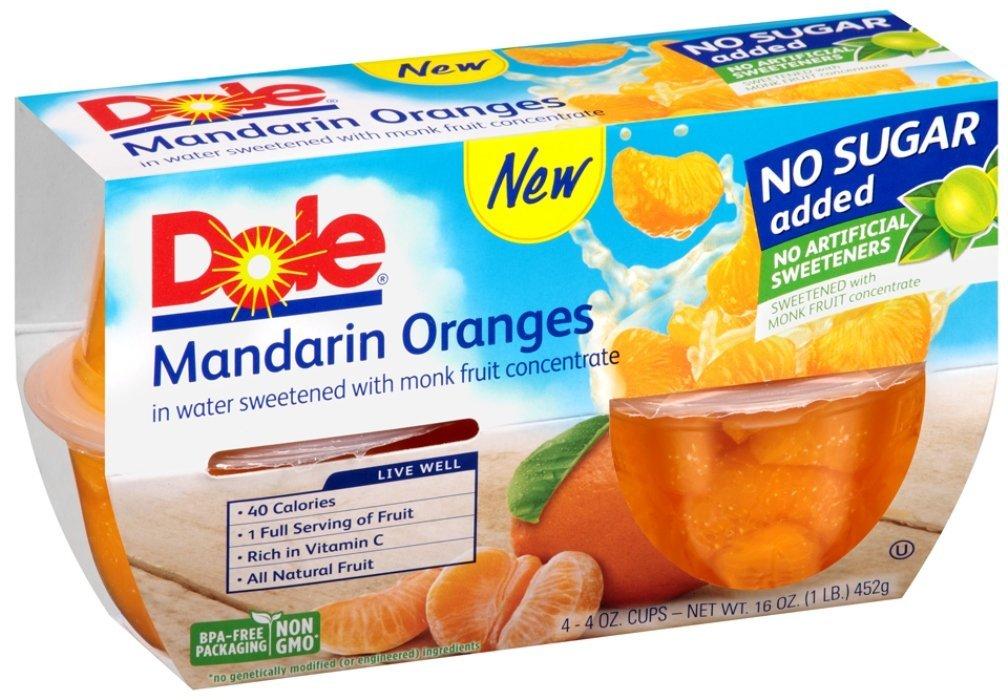 Dole, Mandarin Oranges No Sugar Added, 4 Oz (pack of 4)