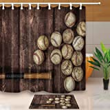 NYMB Baseball on the Wooden 69X70in Mildew Resistant Polyester Fabric Shower Curtain Suit With 40x60cm Flannel Non-Slip Floor Mat Bath Rug (Multi25)