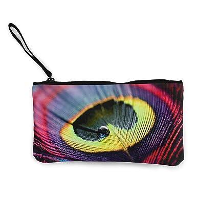 Amazon.com: Monedero de lona para fotografía de pavo real ...