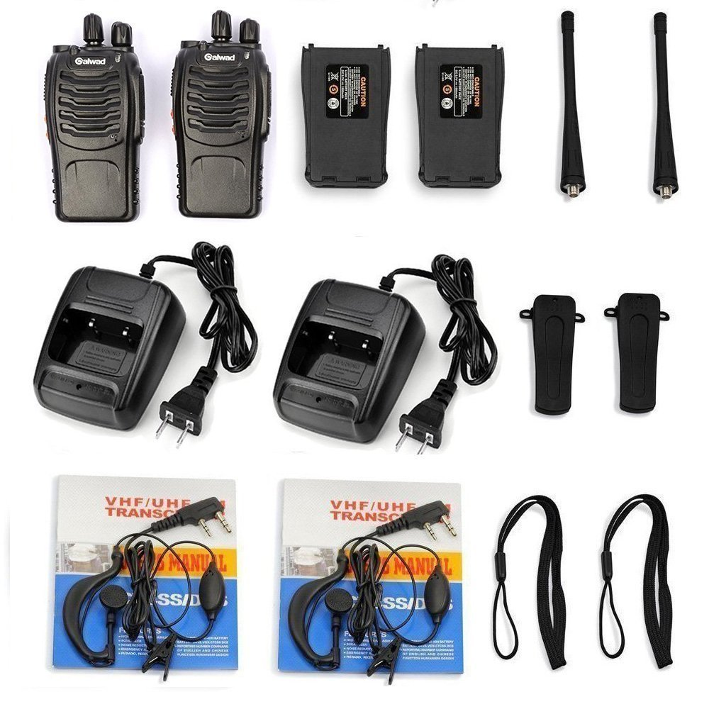 Walkie Talkie 16 Channels Long Range Two Way Radio 2pcs Radios Box Contain Two of Every Item (2 Radios,2 Rechargeable Batteries,2 Lanyards,2 Clips,2 Antennas,2 Chargers,2 Headphones,2 Manuals) by Galwad (Image #7)